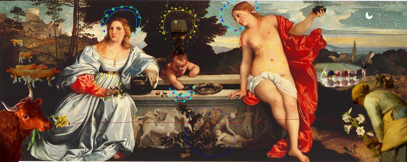 intervento digitale Bacco Artolini dipinto arte Tiziano Ghirlandaio Millet