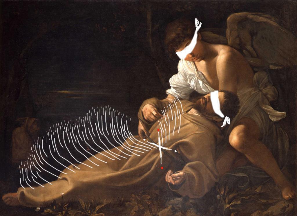 Bacco Artolini Caravaggio estasi Francesco digital art
