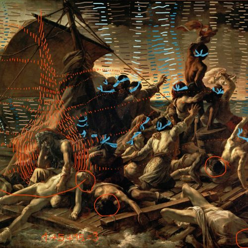 Gericault painting Meduse Bacco Artolini intervention