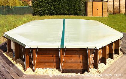 bache hiver securite piscine bois