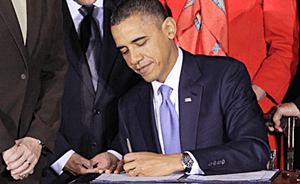 Obama signing Bill