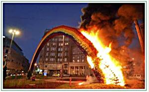 Rainbow Arch Poland burned