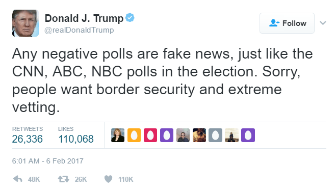 "Donald Trump States That Any Negative Polls Are ""Fake News"" So Then They Must Be Real"