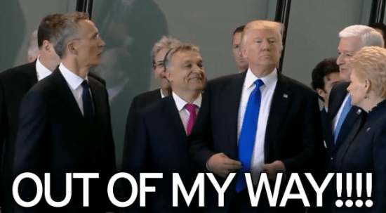 Trump Shoves Montenegro PM In Order To Stand In Front Of NATO Leaders [VIDEO]