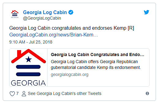 Gay Log Cabin Republican Traitors Endorse Anti-LGBT Georgia GOP Governor Nominee