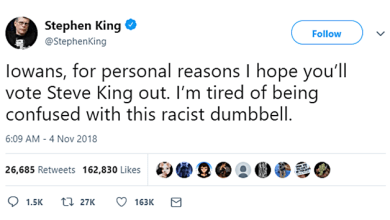Horror Author Stephen King Wants Horrible GOP Wingnut NAZI Rep. Steve King Voted Out Of Office To End Confusion