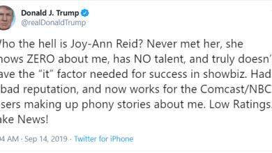 "LOOK OVER THERE! - Donald Trump Attacks ""No Talent, Low Ratings"" Joy Reid of MSNBC"
