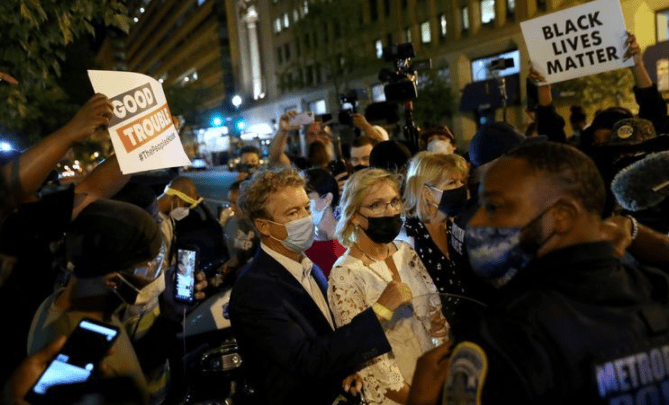 Rand Paul Confronted By Protestors after Republican National Convention, Claims He Was 'Attacked by an angry mob' - VIDEO