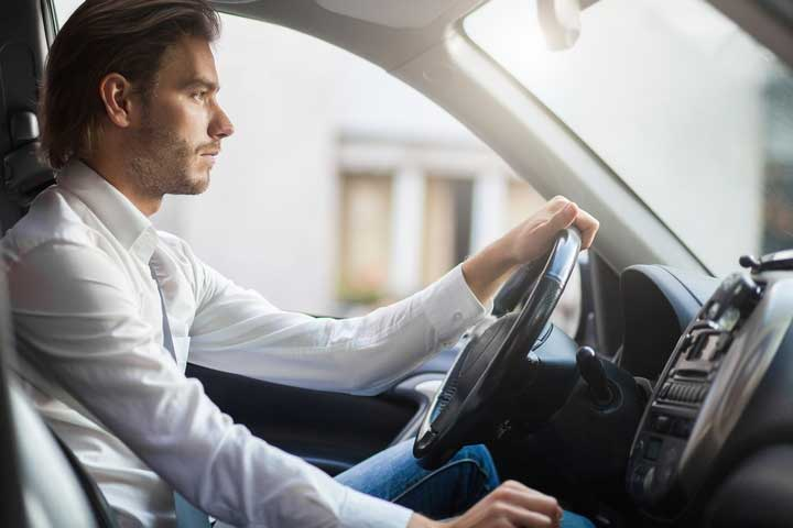 Driving in hunched posture