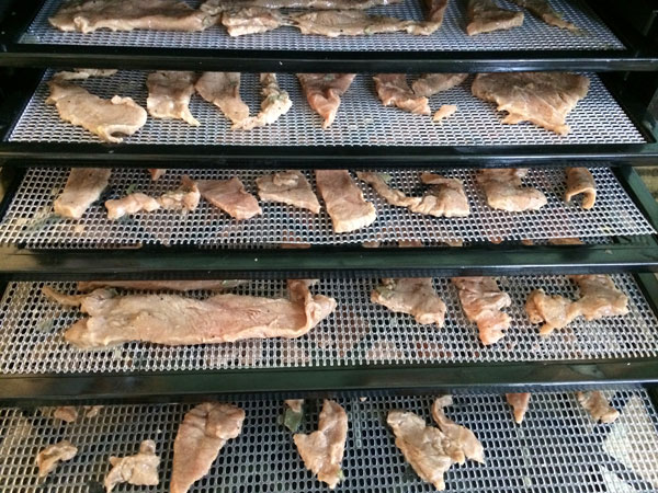 beef strips on dehydrator tray