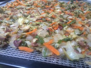 Veggies laid out on tray to dehydrate