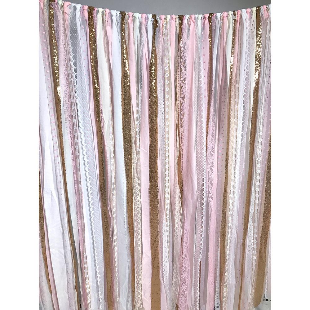 Pink  Gold Fabric Garland Backdrop  Backdrop Express