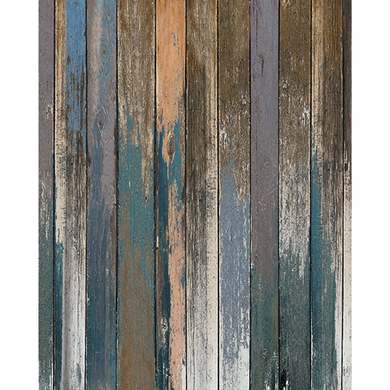 Blue And Peach Distressed Wood Floordrop Backdrop Express