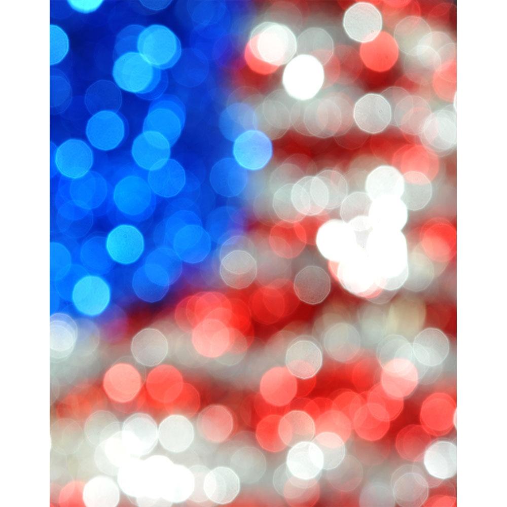 bokeh american flag printed