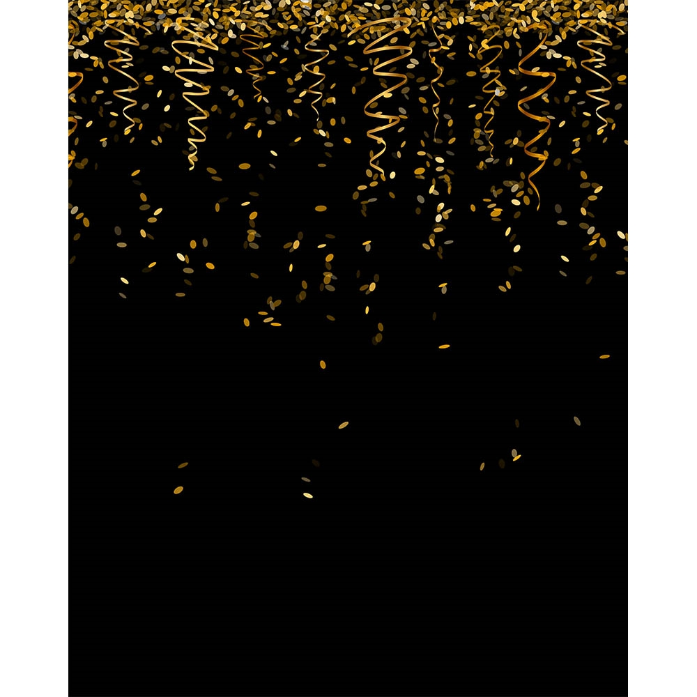Black and Gold Streamers Printed Backdrop  Backdrop Express