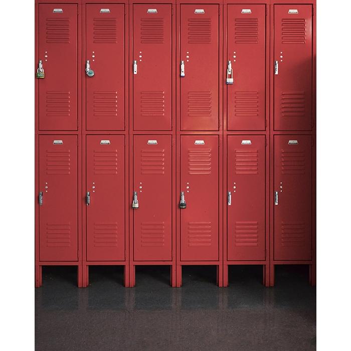 Red Lockers Printed Backdrop  Backdrop Express