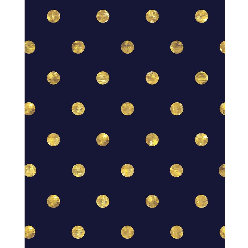 Gold Polka Dots on Navy Blue Printed Backdrop  Backdrop