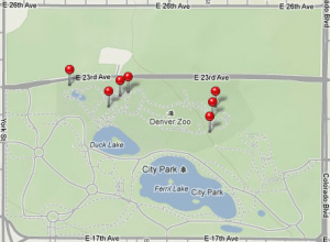 Locations of photos I took at the Denver Zoo
