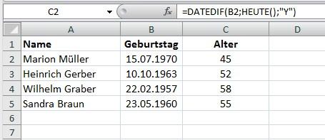 Das Alter mit Excel berechnen