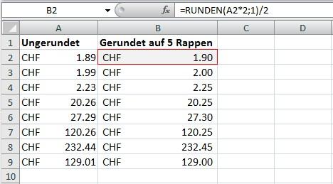 Runden auf 5 Rappen mit Excel