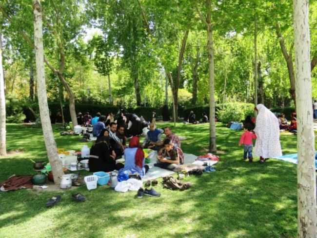 Iranians having a picknick in one of the parks in Isfahan Iran