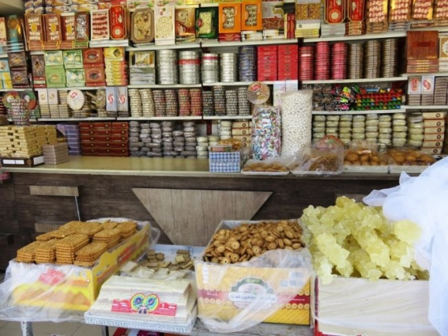 a sweet store in Yazd. Trying sweets is one of the best things to do in Yazd