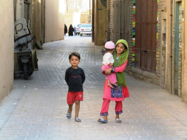 children in the old town of Yazd