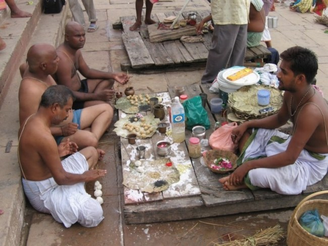 ritual at Dashashwamedh Ghat. One of the best places to see in Varanasi for Hindu rituals.