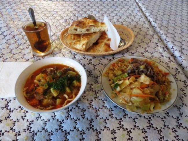 Kazakh food at the bazaarbin Shymkent Kazakhstan