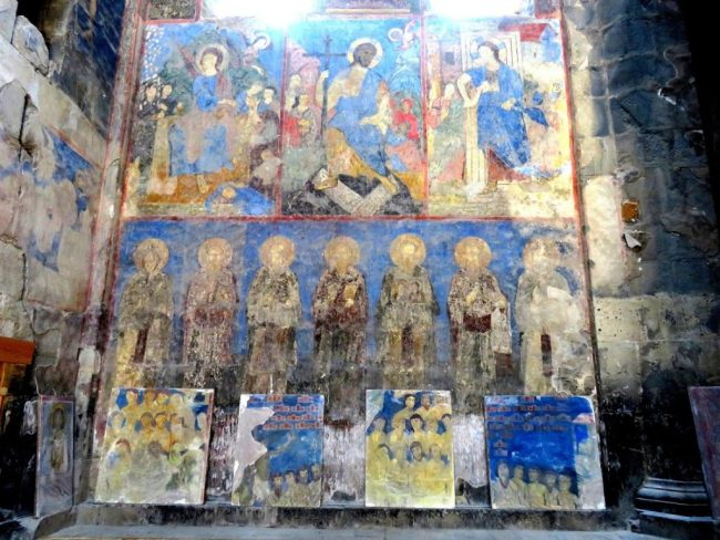 frescoes in the Akhtala monastery in the Debed Canyon in Armenia