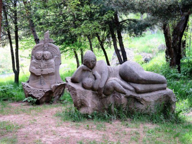 statues in a park in Jermuk Armenia