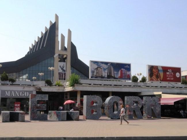 Newborn monument in Pristina Kosovo