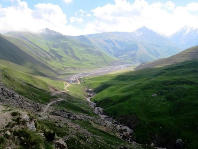 The road in Azerbaijan's Caucasus mountains to Xinaliq, Khinaliq, Khinalug