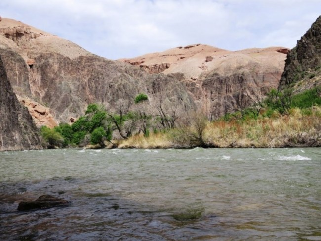 The Charyn river in the Charyn Canyon in Kazakhstan
