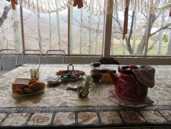 Welcome tea in Ruslan's Guesthouse in Zhabagly
