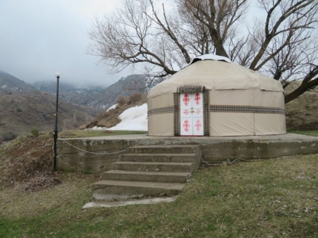 the outside yurt at Ruslan guesthouse in Aksu Zhabagly