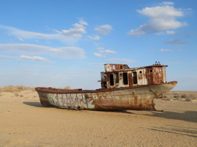 abandoned ship in the ship graveyard of Moynaq Uzbekistan