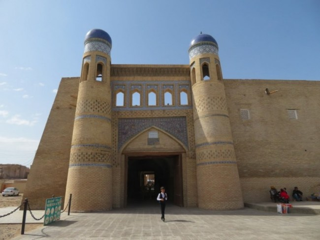 Entrance to the old town in Khiva Uzbekistan. Khiva should definetly be in your Uzbekistan itinerary