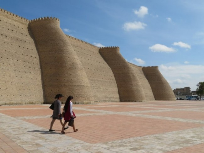 City walls in Bukhara Uzbekistan