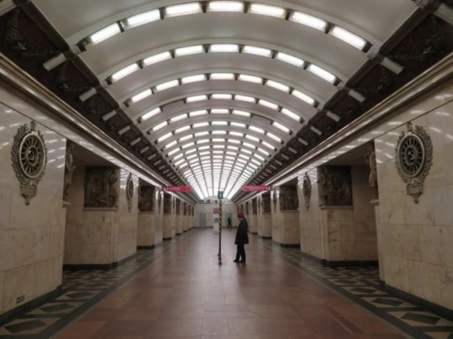 Narvskaya metro station on the St Petersburg metro