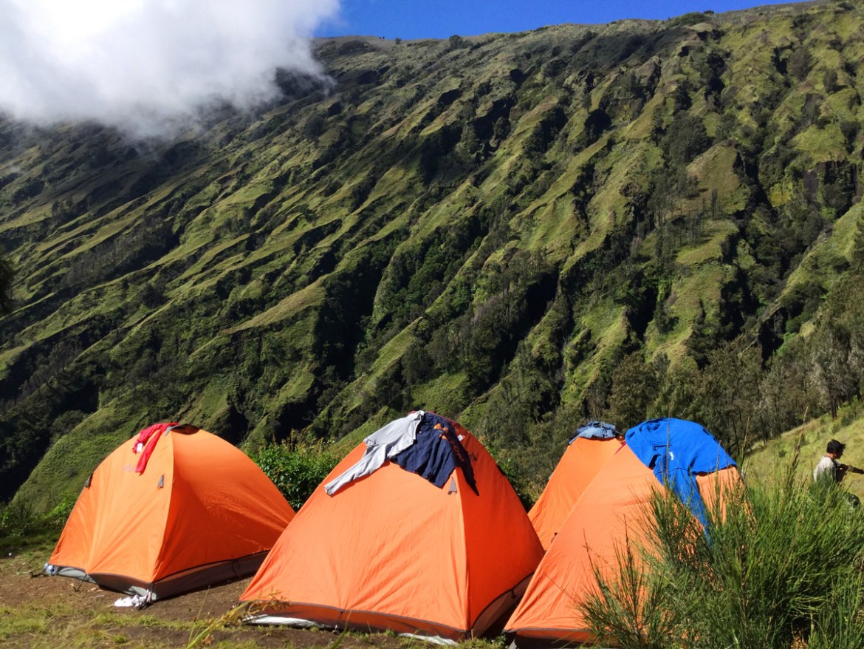 Camping on Mount Rinjani, Lombok, Indonesia.
