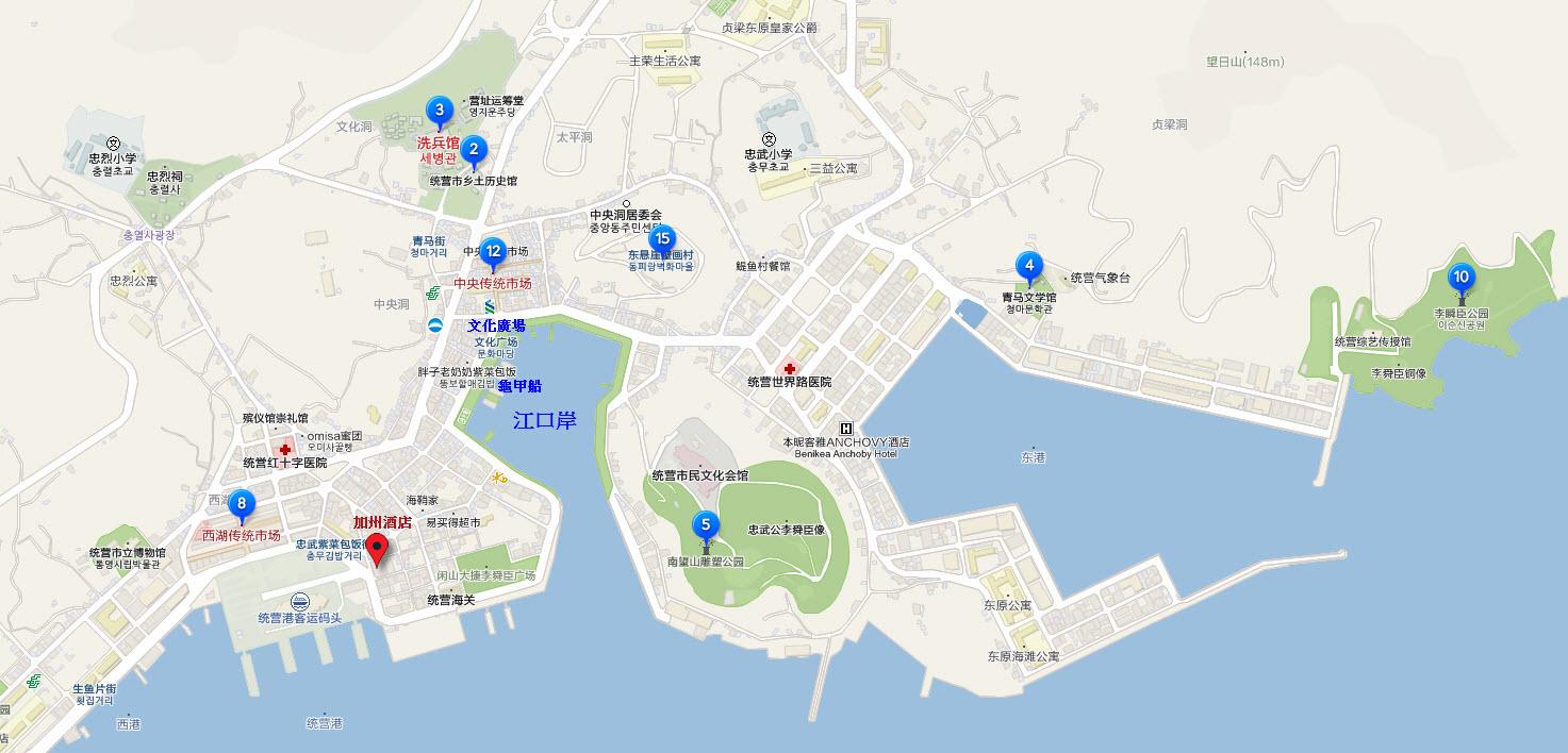 韓國統營市一帶遊覽地圖及行程建議 – 韓國南部自由行