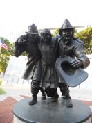 A statue memorial for the fallen firefighters of New York