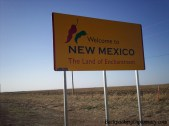 The land of Enchantment. This is the New Mexico state line crossing in from Texas.