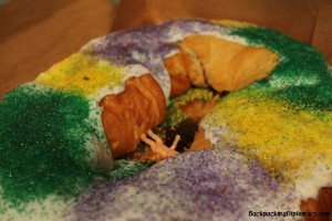 The Louisiana King cake, colors are green, yellow, and purple.