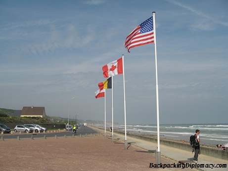 The flags of the countries who participated in the invasion of Normandy with the allied forces.