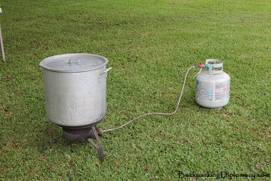 The equipment needed to boil crawfish