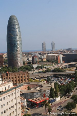 Insider tips Barcelona. Overlooking Agbar tower and Port Olimpico in Barcelona.