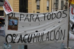 A protest banner in Valencia