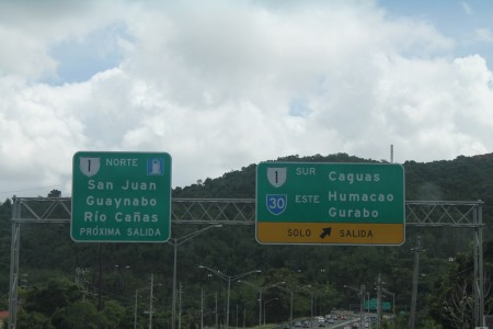 Street signs in Puerto Rico, driving around the island.